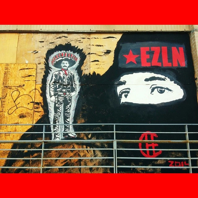 Zapata w/ Subcommandante Marcos and EZLN @thebushwickcollective in Brooklyn. #Vivache #CheMan #zapatistas #Zapata #Marcos #EZLN #Painting #StreetArt