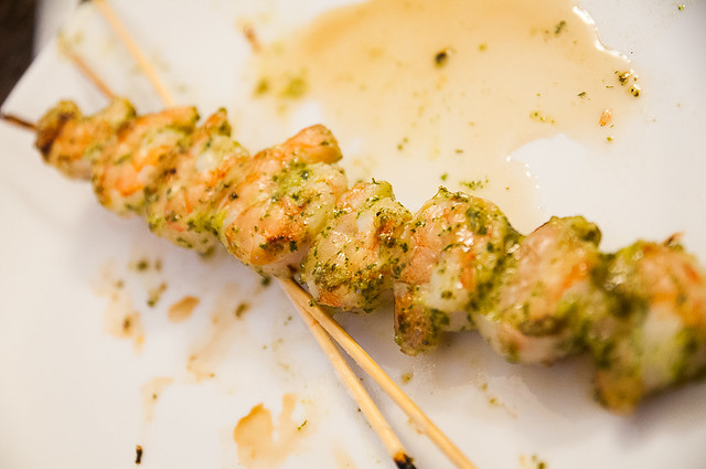 honey-garlic-cilantro shrimp skewers and grilled veggies