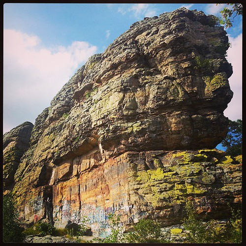Ship Rock.  In the middle of a bunch of farm fields... I always go for a quick climb on the way to Minnesota. #rockclimbing #wicounties #discoverwisconsin #wisconsin #outdoors #exploremore #adventure #rocks