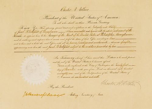 Jacob B. Eckfeldt appointment document