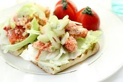 smoked salmon(0.0), caesar salad(0.0), tostada(1.0), meal(1.0), breakfast(1.0), salad(1.0), vegetable(1.0), bruschetta(1.0), produce(1.0), food(1.0), dish(1.0), cuisine(1.0),