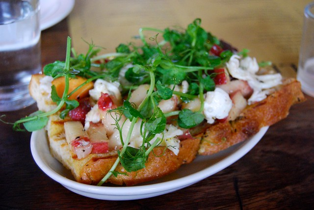 Polpo White Peach, Pea Shoot & Mozzarella Bruschetta
