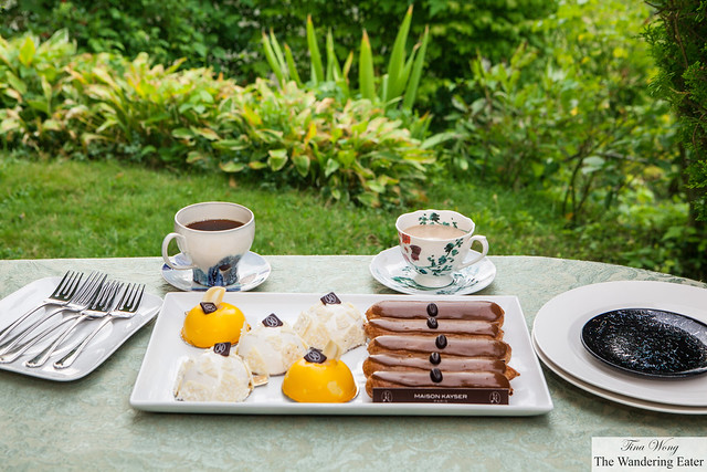 Afternoon tea of Mangodor, Cocorico and Coffee eclairs