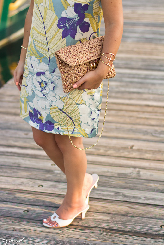 Tropical print dress, straw clutch, white sandals-5.jpg