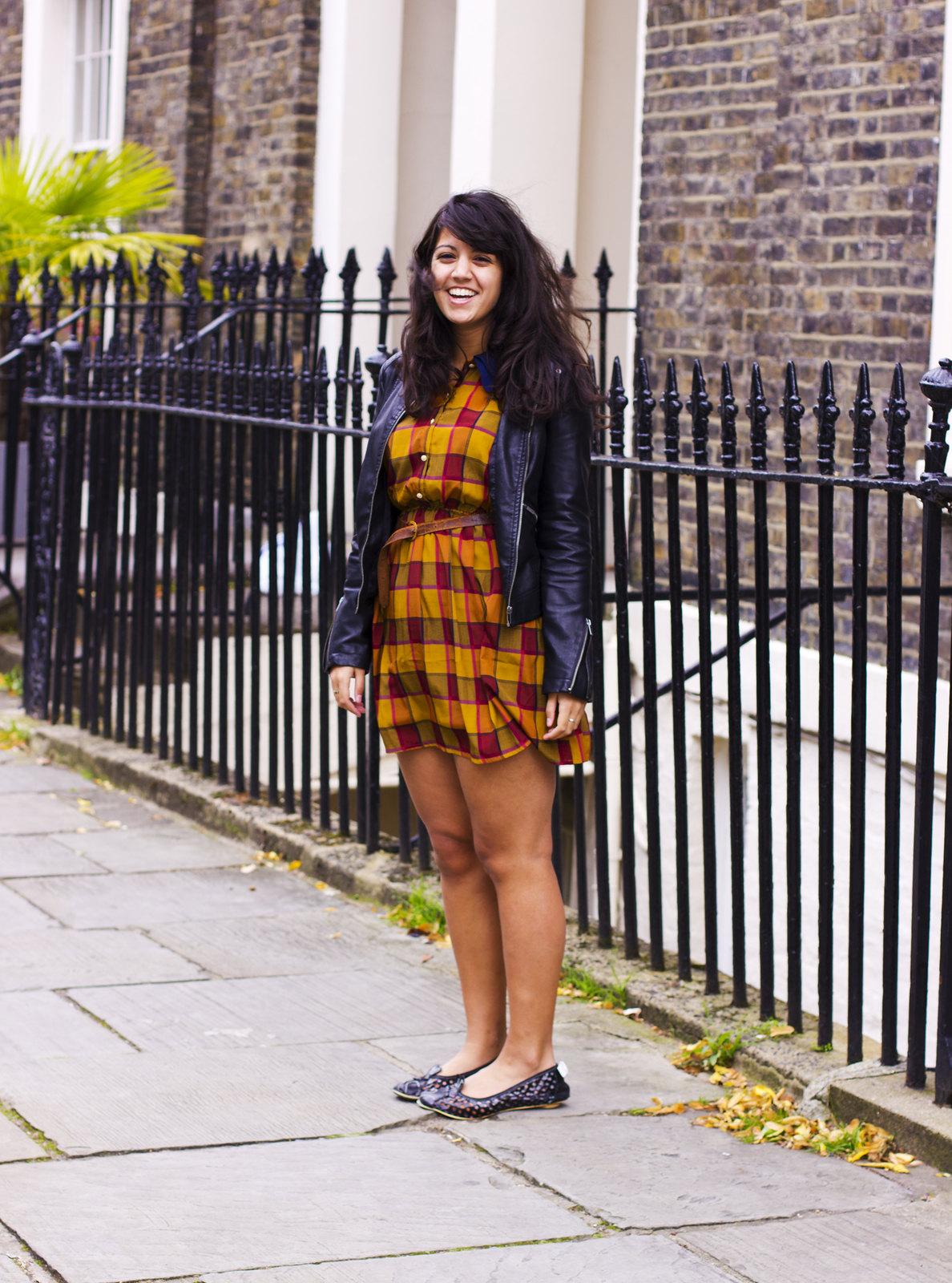 Miss Patina Dress Laila Tapeparade blog kings cross where I work railings shoes bunnies bunny rabbit face shoes check dress fake leather jacket Irregular Choice