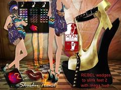 ShuShu REBEL wedge heels 2 to slink feet with mega hud - rigged mesh for high slink feet