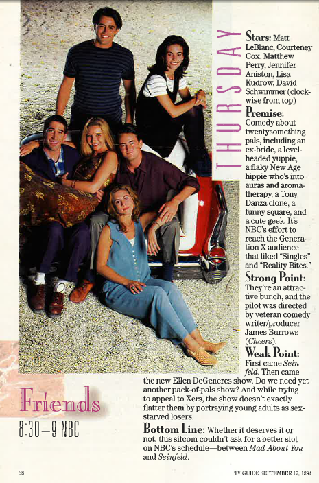 Friends 1994 Fall premiere page