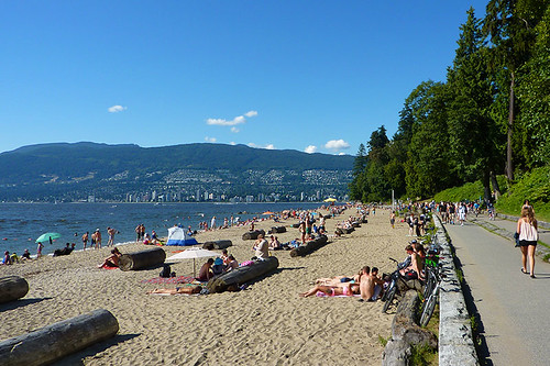 Third Beach in Stanley Park, Vancouver, British Columbia. West Vancouver in the background across Burrard Inlet.
