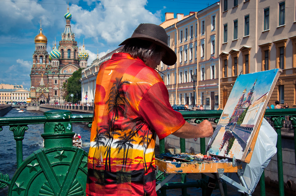 Russian Artist Painting Church of the Savior on Spilled Blood