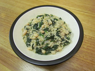 Greek Spinach Rice with White Beans