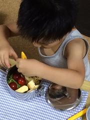 お弁当箱でごはんを食べるブームなとらちゃん 2014/8