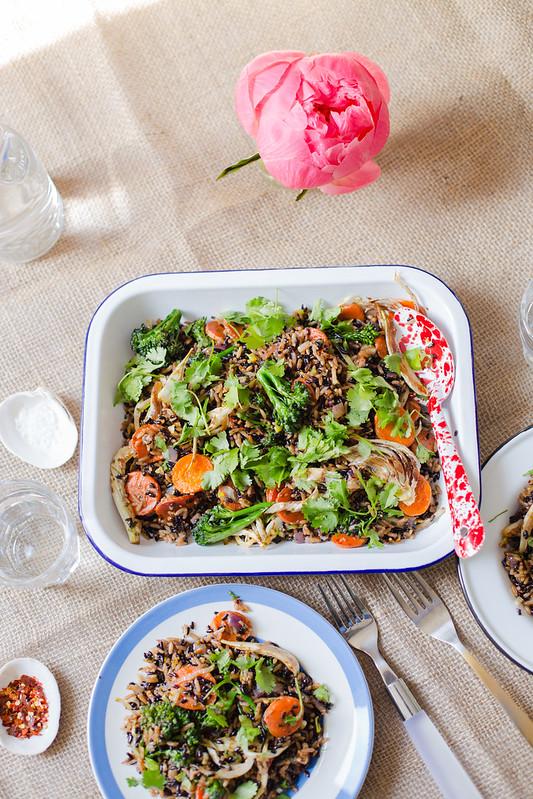 Balsamic Roasted Veggies and Rice Salad