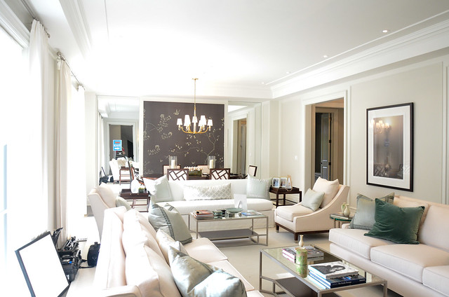 White and bright living room:  Princess Margaret Showhome in Oakville by Brian Glucktein