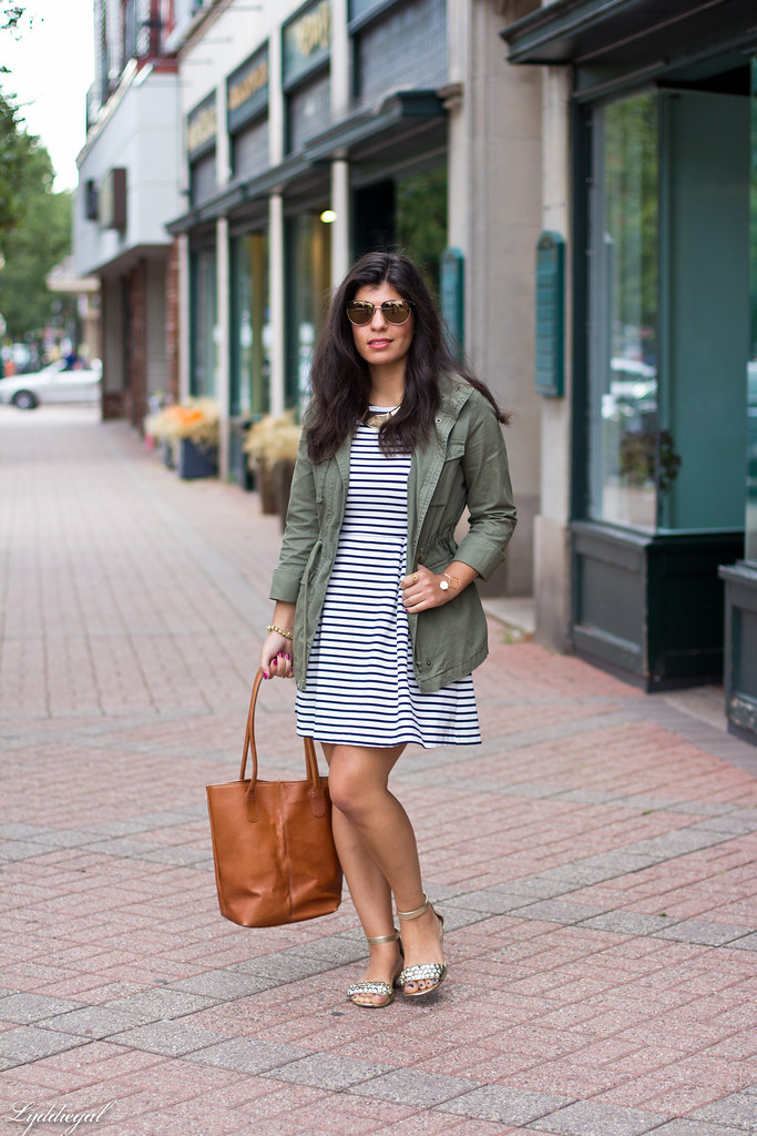 striped dress, utility jacket, brown leather tote-2.jpg
