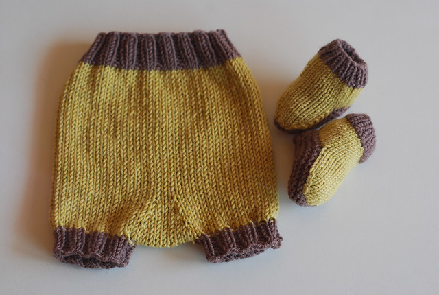 tiny pants booties handknitted