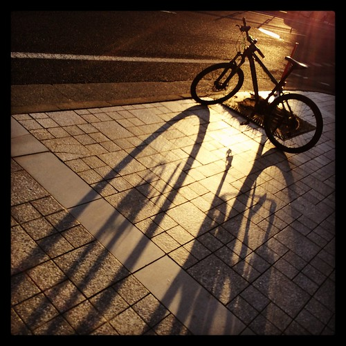 sunset shadow bicycle 山形 自転車 日没