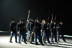 U.S. Army Drill Team Performs the Overhead Rifle Toss