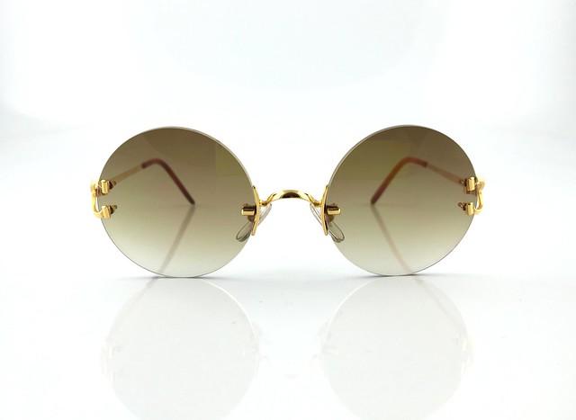 occhiali cartier c decor round gold vintage sunglasses lunette