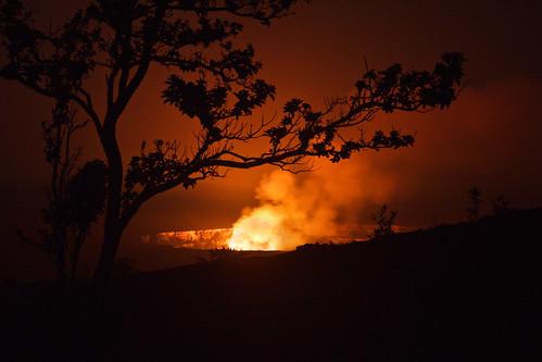 park red night volcano hawaii lava glow smoke national caldera bigisland kilauea
