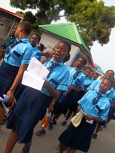 The Marywood students reading out the information in their World Water Day flyers during the Public Awareness Campaign in 2015