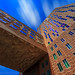 Looking Up One Western Ave Tower on Harvard Campus with Blue Sky and Cloud Movement, Lower Allston Boston Massachusetts USA by Greg DuBois Photography