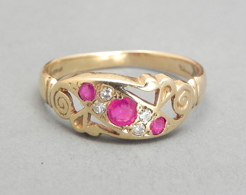 Pink Sapphire Engagement Ring Vintage Cluster Jewelry Gold Ring Estate Ring Size 8