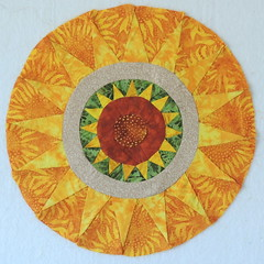 Hand-pieced Sunflower Circle