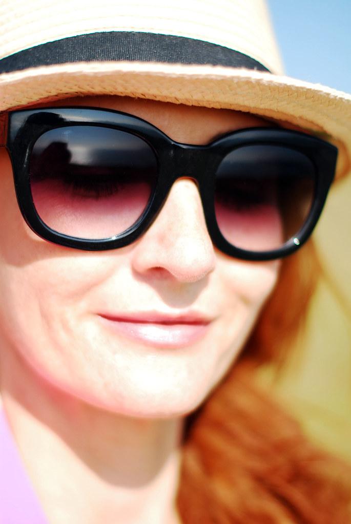 Oversized black cat eye sunglasses
