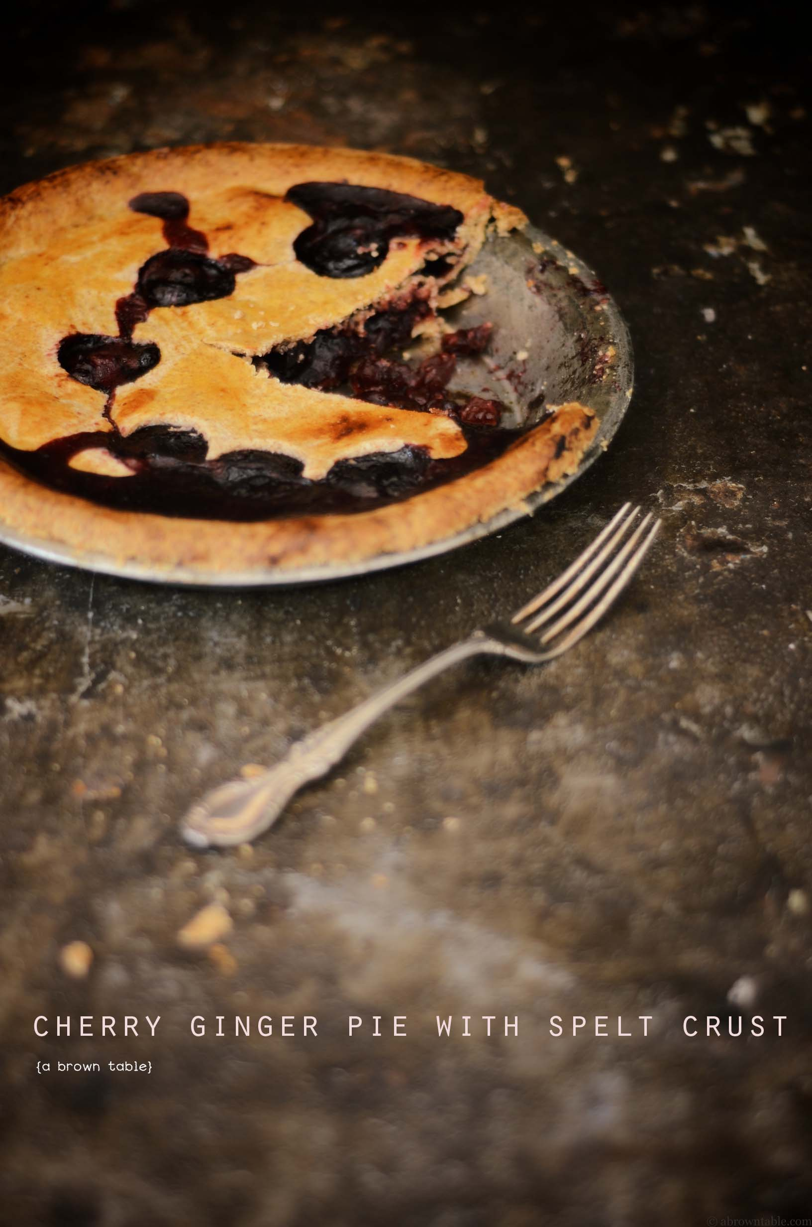 cherry ginger pie with spelt crust