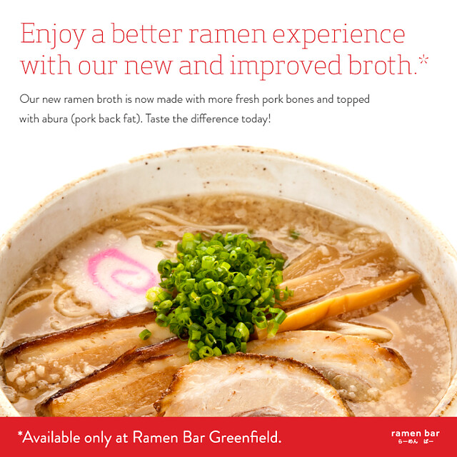 New and improved ramen broth at Ramen Bar Greenfield District
