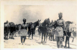 Indian troops looking after a supply train