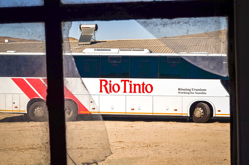 Rio Tinto bus and broken glass at the Rössing mine, Namibia
