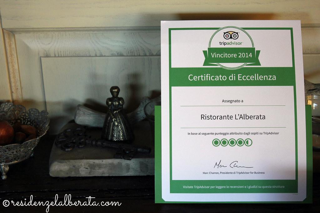 ristorante l'alberata - certificato d'eccellenza
