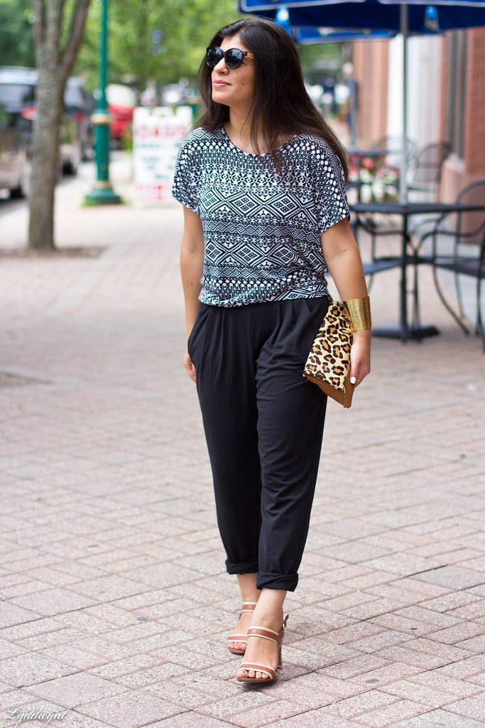 soft black pants, tribal print tee, leopard-1.jpg