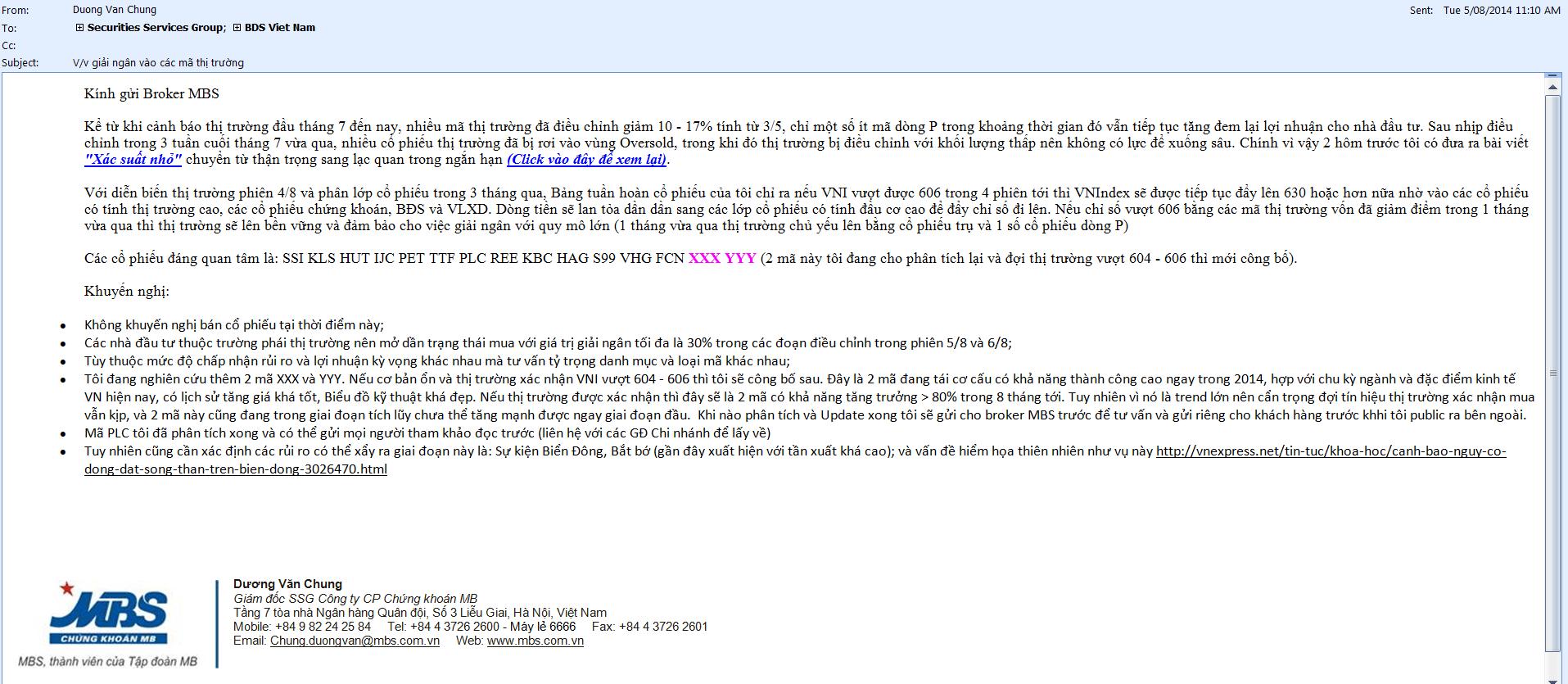 Tư vấn nội bộ MBS sáng 5.8.2014
