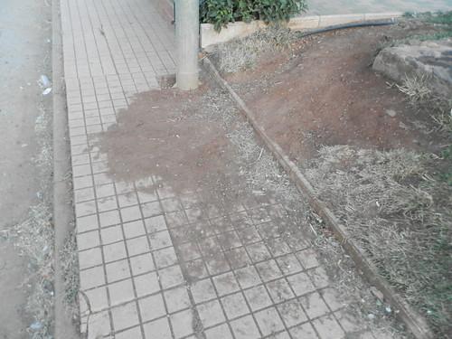 Fuente del parque, tierra en la acera.