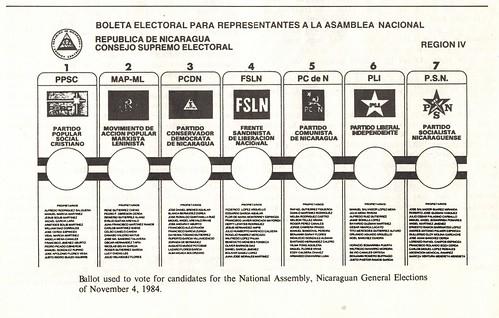 1984 Nicaraguan National Assembly ballot (close up)