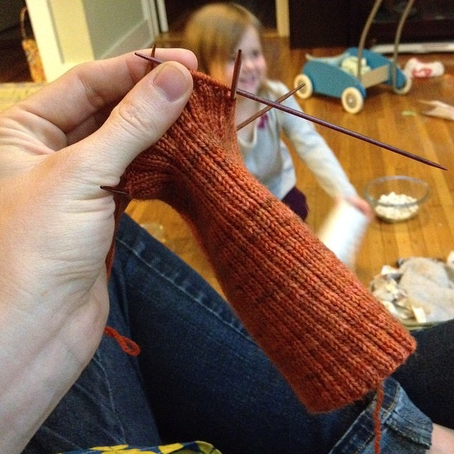 """Still knitting. (goodness, 7"""" of 2x2 rib over 120sts on size 1 needles is...a lot of knitting!)"""