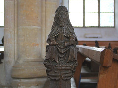bench end (possibly Christ in judgement)