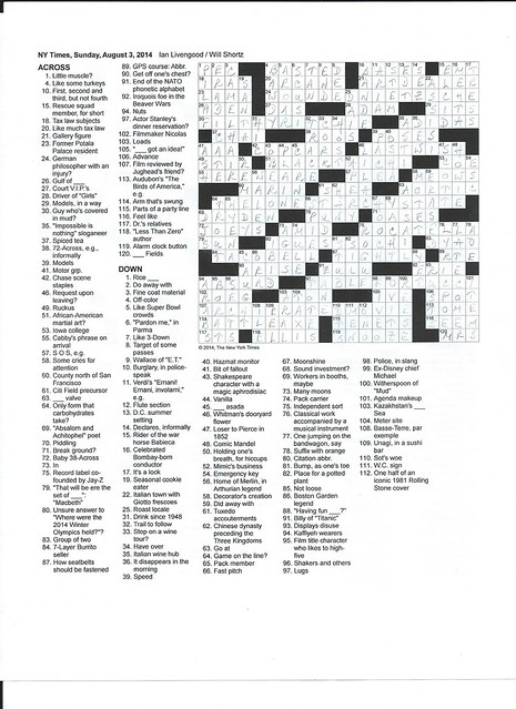 NYT Sunday Puzzle - August 3, 2014