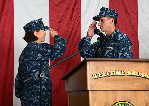 USS GREEN BAY (LPD 20), At Sea (NNS) – Amphibious transport dock ship USS Green Bay (LPD 20) conducted a change of command ceremony during which Capt. Kristy McCallum assumed command of Green Bay relieving Capt. Gregory Huffman.