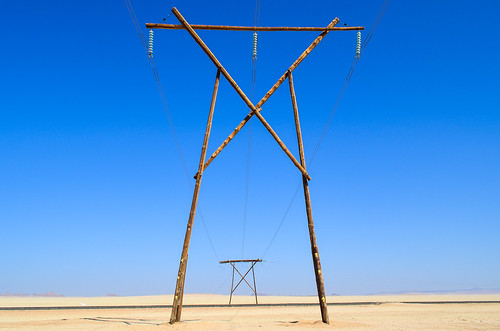 Electric poles in the desert (Lüderitz line)
