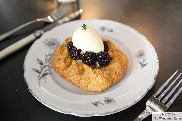 Peach and blackberry tart topped with sweet corn thyme ice cream