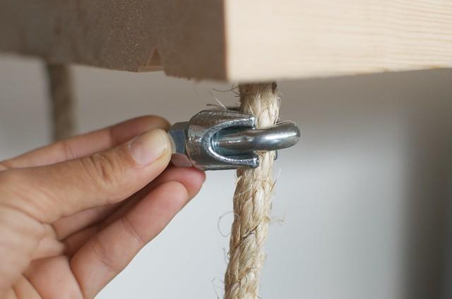 Make a set of hanging rope shelves
