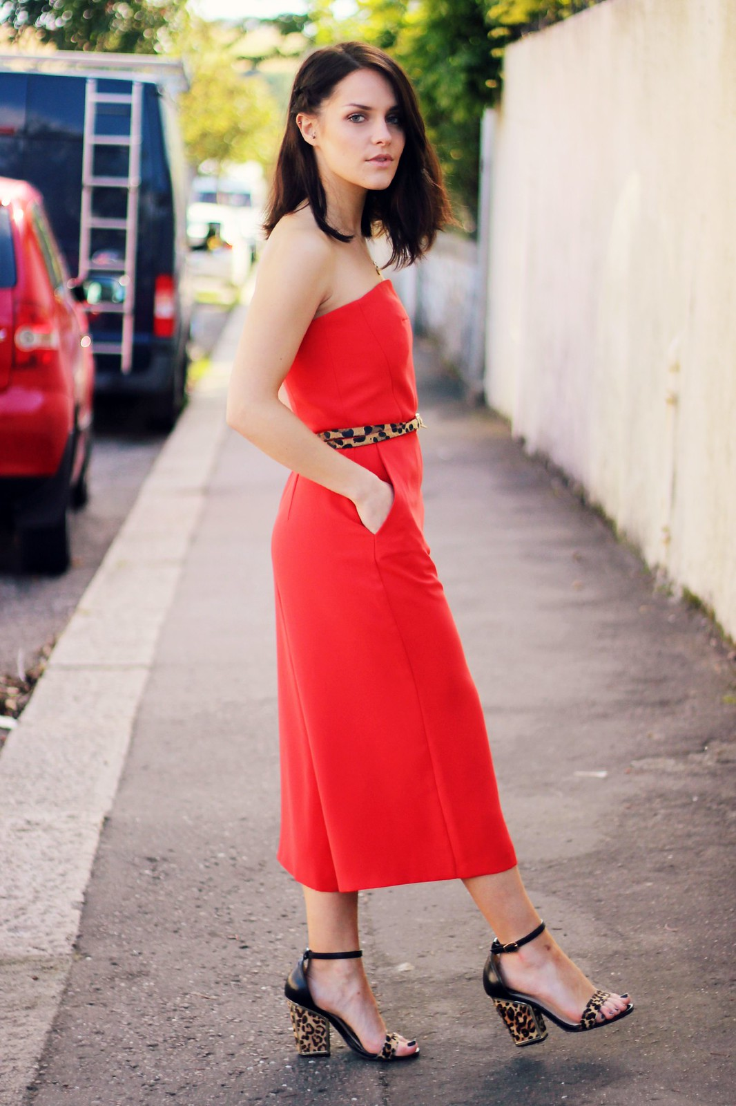Topshop red culotte jumpsuit