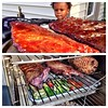 The Dude & I keeping it easy breezy and testing out our new little #smokehouse. #foodporn #smoke #applewood #ribs #okra #peppers