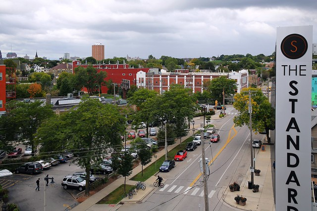 A View of North Avenue from roof deck at The Standard at East Library