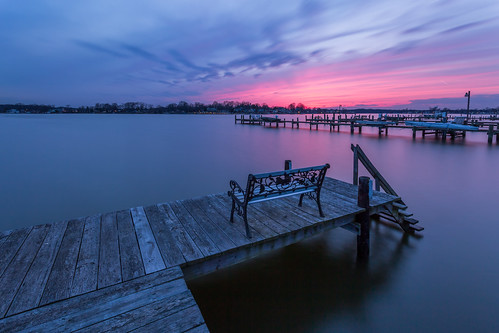 sunset bench pier maryland middleriver