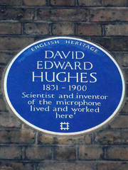 Photo of David Edward Hughes blue plaque