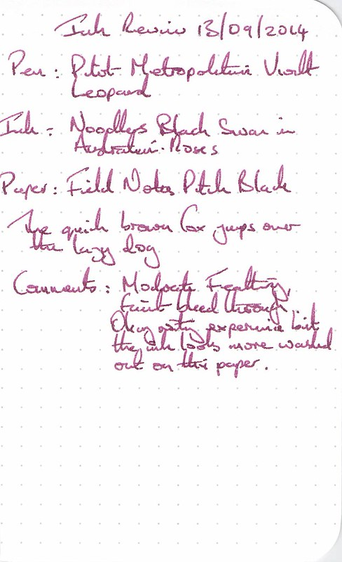 Noodler's Black Swan in Austrialian Roses - Field Notes - Ink Review